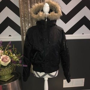 NEW-Juicy Couture Black Hooded Winter Coat-LARGE